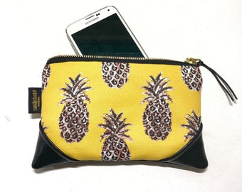 Mini Mustard Pineapple Zipper Pouch / Clutch with inside lining and Zipper Pull or Leather Wristlet Strap