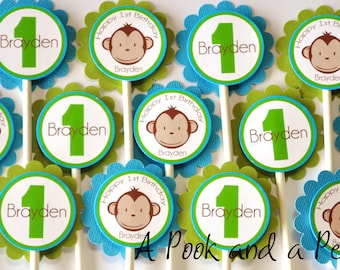 Blue Green Boy Monkey Birthday Party Baby Shower Cupcake Toppers Picks Set of 12