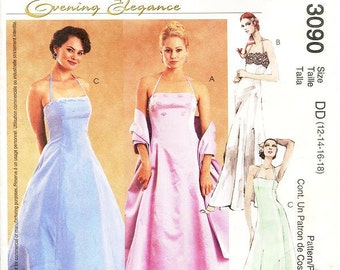 Sz 12/14/16/18 - McCall's Dress Pattern 3090 - Misses' Halter Evening Dresses in Two Lengths and Stole - McCall's Evening Elegance