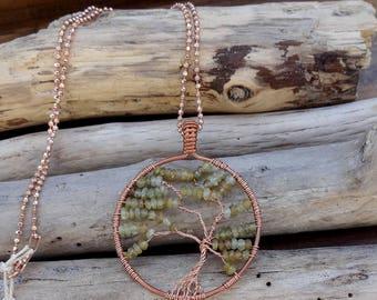 Green Garnet Tree of Life Pendant Necklace