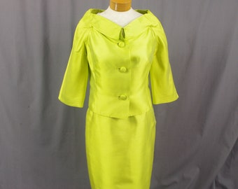 50s Chartreuse Green Suit, Town and Travelwear Suit, Womens Mad Men Suit, Green Silk Suit, 1950s Suit, Brushed Silk Suit
