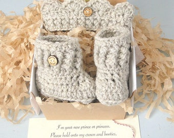 Booties in a Box®  Crown and Booties Set, Pregnancy Reveal to Grandparents, Pregnancy Announcement, Baby Reveal, Ready to Ship