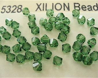 48 Erinite Swarovski Crystal Beads Bicone 5328 4mm