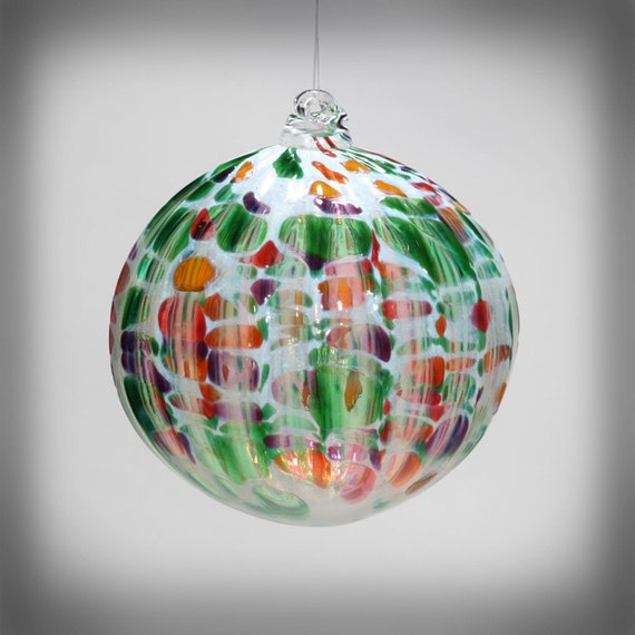 HAND BLOWN GLASS Christmas Ornament Suncatcher Ball Multi