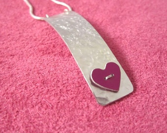 Textured  aluminium heart necklace
