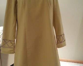 Winter long top/ dress in dusted mustard yellow color, size 12