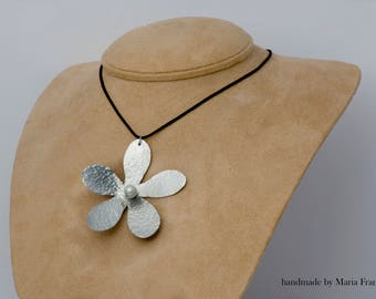 Handmade Flower PENDANT from aluminium decorated with A PEARL