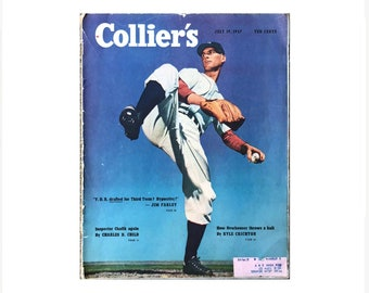 Hal Newhouser, Pitcher, Baseball Hall of Famer in Collier's Magazine July 19 1947, Post War Housing Shortage, Plastics, Fiction Stories, Ads