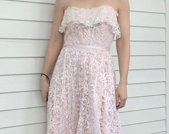 Vintage 80s Pink Lace Strapless Prom Dress Formal Gown S XS