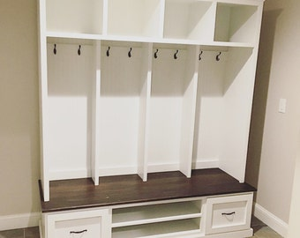 Mud bench, Locker unit, hall tree, shoe bench made from hardwood
