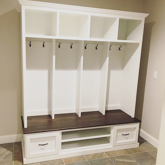 Mud bench locker unit hall tree shoe bench made from - Adding character to your hallway with a hall tree ...