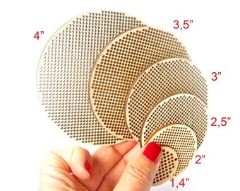 "Cross Stitch Shape, 3"" - 75 mm, Circle, Disk, Cross Stitch Blank, Plywood Blank, DIY, Needlepoint Blank, Laser Cut"