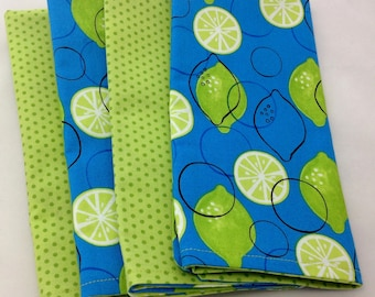 SALE Limes with blue  design 4 double-sided cloth napkins  FREE Napkin Rings Limes design on front, complimentary print on back. Set of 4