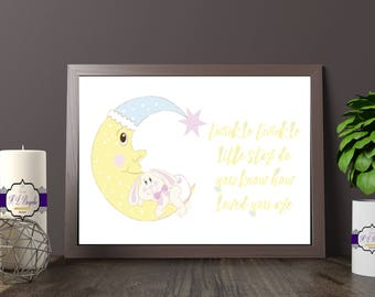 Twinkle Twinkle Little Star Nursery Print - Little Star, Do You Know How Loved You Are - Nursery Wall Decor - Printed and Unframed