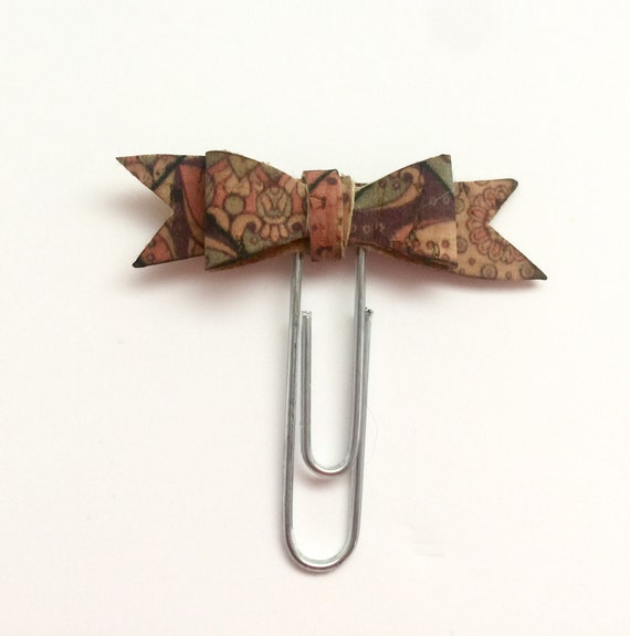 Cute cork fabric bow planner paperclip with funky print. Planner charm, Bow charm