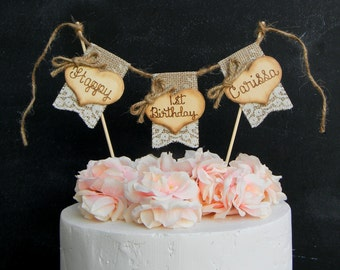 Happy Birthday Cake Topper Burlap Lace Bunting Flags Banner Wood Hearts Rustic Country
