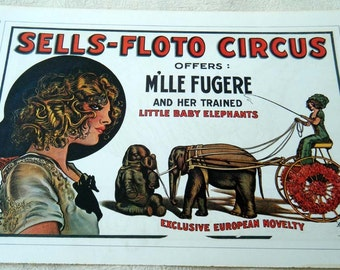 Vintage Circus Poster Print Trained Little Baby ELEPHANTS Leaping TIGER Poster Size Book Plate