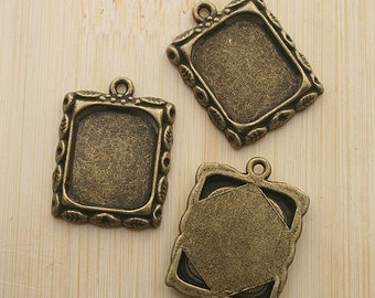 10pcs 20x17mm antiqued bronze picture frame charm G467