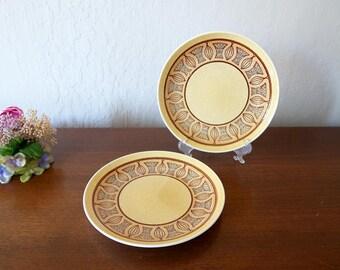 2 Honey Gold dessert plates, Taylor Smith & Taylor Atomic Onion, Mid Century dinnerware, Taylor and Smith salad plates Taylorstone