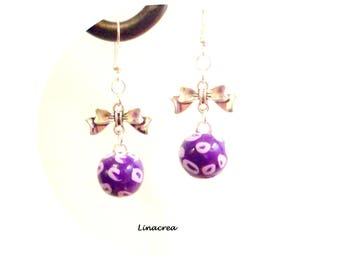 Fimo earrings and a small knot (deep purple light)