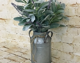 Lamb's Ear Floral Arrangement, Milk Jug Arrangement, Farmhouse Florals, Farmhouse Decor