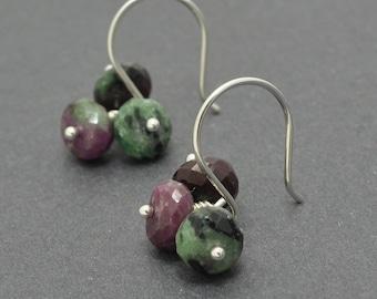 Gemstone Cluster Earrings, Christmas Earrings, Ruby Zoisite Faceted Rondelles