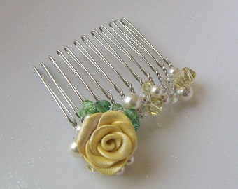 Garden Rose, Pearl and Crystal Spray Hair Comb for Bridesmaids or Flower Girls in Yellows