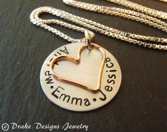 Personalized necklace for mom Sterling silver and rose gold filled mom jewelry
