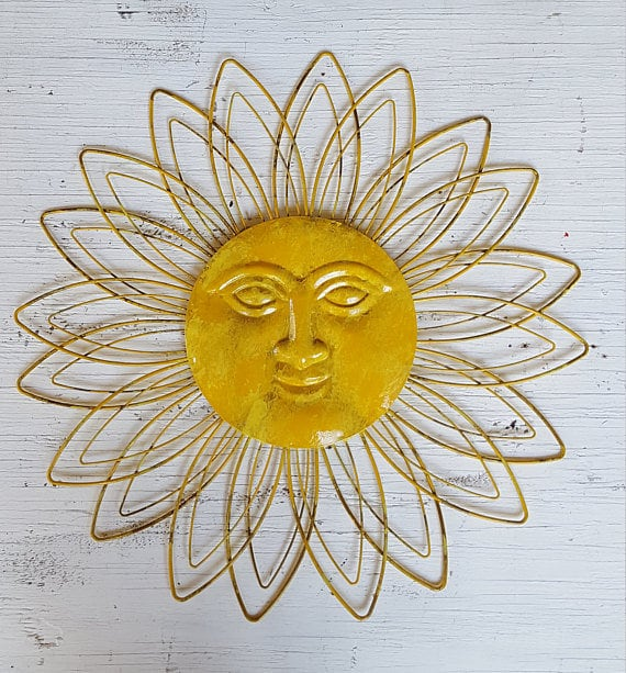 Sunface Wall Decor Garden Decor Metal Sun Wall Art Outdoor