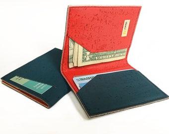 Cork slim wallet, beautiful texture. Card wallet, card case, card holder, small wallet.