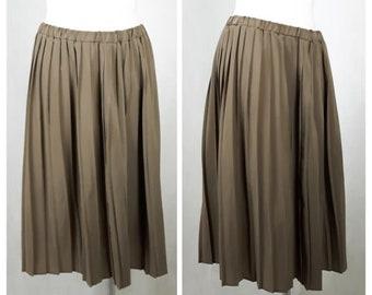 Vintage 80's Skirt Beige Midi Knee Lenght Accordion Pleat UK18/20 EU44/46