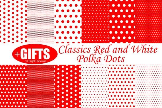 Classic Red and White Polka Dot digital paper scrapbook red polka dots for Red polka dot dress fabric print polka dot wall decal clipart DIY