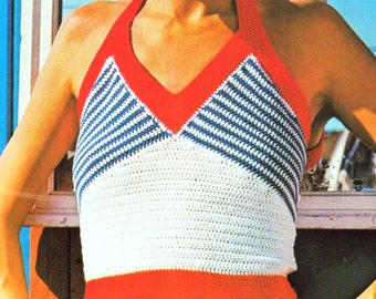 INSTANT DOWNLOAD PDF Crochet Pattern  Nautical Halter Tops Vintage 1970s