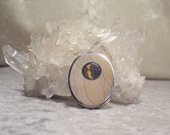 REVERSIBLE Polychrome Jasper-with-Marramamba Tiger Eye and Crazy Lace Agate - Vertical Oval Inlaid Bead in Stone and Sterling Silver