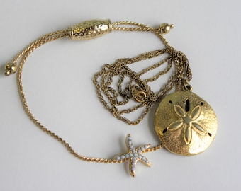 Gold filled sand dollar necklace, gold beach jewelry, starfish slide bracelet, gold sand dollar necklace, gold lot, nautical jewelry lot
