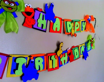 Sesame Street Birthday Banner Elmo Big Bird Cookie Monster Oscar the Grouch