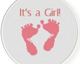 It's A Girl, Handmade Unframed Cross Stitch- Baby Girl Gift, Baby Shower Gift, Baby Girl Nursery, Baby Girl Room Decor, Baby Wall Hanging