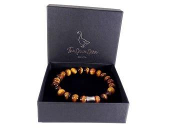 Tiger Eye , Natural Gemstone, Tiger Eye Beads, Mens Bracelet, Healing Gemstones, Beaded Tigers Eye Bracelet, Yoga Bracelet, Gift for Him