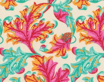 Tula Pink, Tabby Road, EEK in Strawberry Fields, Mice Fabric, Mouse Fabric, Aqua Fabric, Pink Fabric, Yellow Fabric, Leaves, PWTP093.STRAW