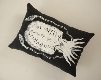 Cuttlefish Squid silk screened cotton canvas throw pillow 18x12 white on black