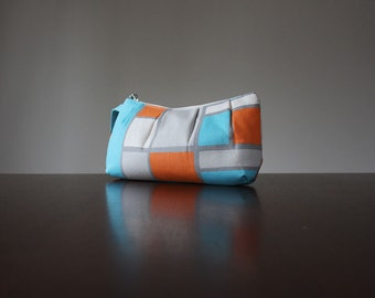 PLEATED WRISTLET in Hopscotch Madarin by Premier Prints. Grey, Orange and Baby Blue. Piet Mondrian Vibes.