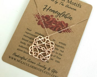 Blood Hemoglobin Molecule Necklace-Science Gift-Chemistry Gift-Doctor Gift-Phlebotomist Gift-Graduation Gift