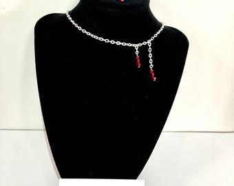 Vampire's bite blood drop necklace and earrings set
