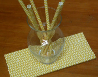 25 yellow chevron striped paper drinking straws - cupcake toppers or cake pop sticks - yellow straws - last one!