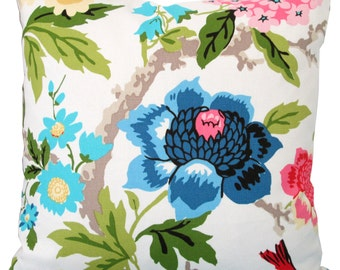 Pink,Yellow,Blue Floral Design-Decorative Pillow Cover-Asian Design-Single Sided