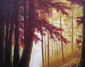Fall, Autumn, Path, Woods, Trees, Sunlight, Nature, Forest, Print from my Painting