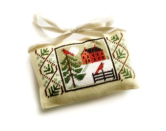 Primitive Christmas ornament, Christmas tree decor, decorative red Santa pillow, cross stitch pillow, Christmas gift present decor