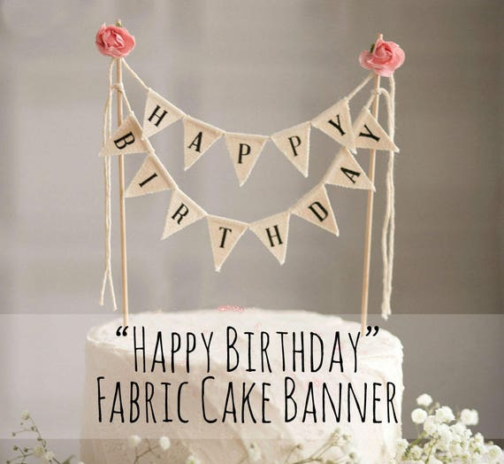 Happy Birthday Garland Cake Topper Banner Girls Party Decorations Roses Shabby Chic Supply From