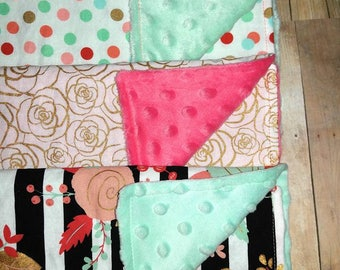 Baby Girl Burp Cloth Set - Burp Cloths - Baby Girl Gift - Burp Cloths - Black and Gold - Baby Shower Gift - Baby Burp Cloth - Newborn Gift