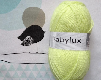 WOOL BABYLUX lime - white horse